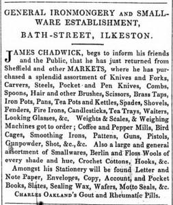 James Chadwick advertises his smallwares in 1854