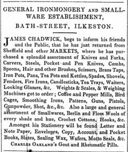 James Chadwick advertises his smallwares in 1854