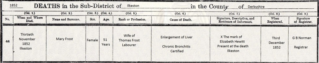 Mary Frost death cert